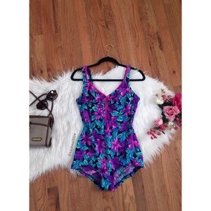 🌿 Vintage 90's Hawaiian Floral One Piece Swimsuit
